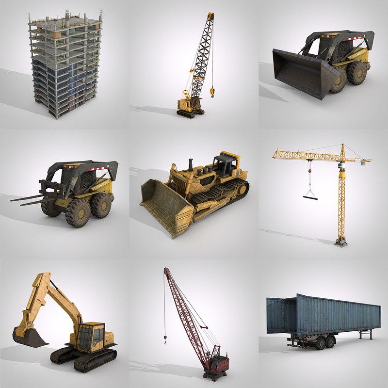 construction vehicles pack 3D
