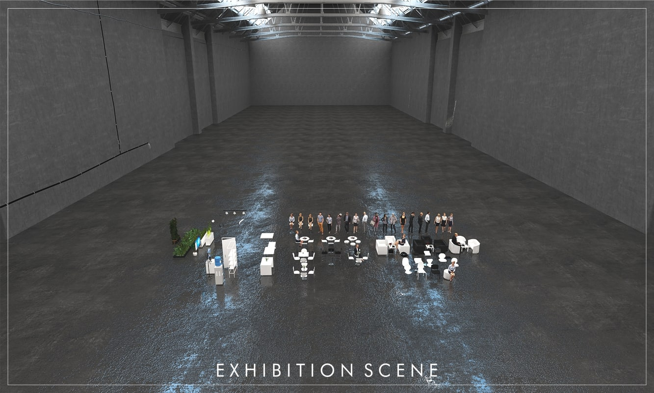 3D design exhibition stand scene