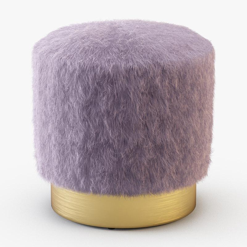 3D model pouf fur