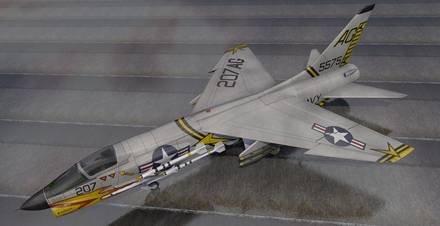 3D plane vought f-8e crusader