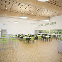 Detail Photorealistic Furnished Cafeteria Interior with Kitchen