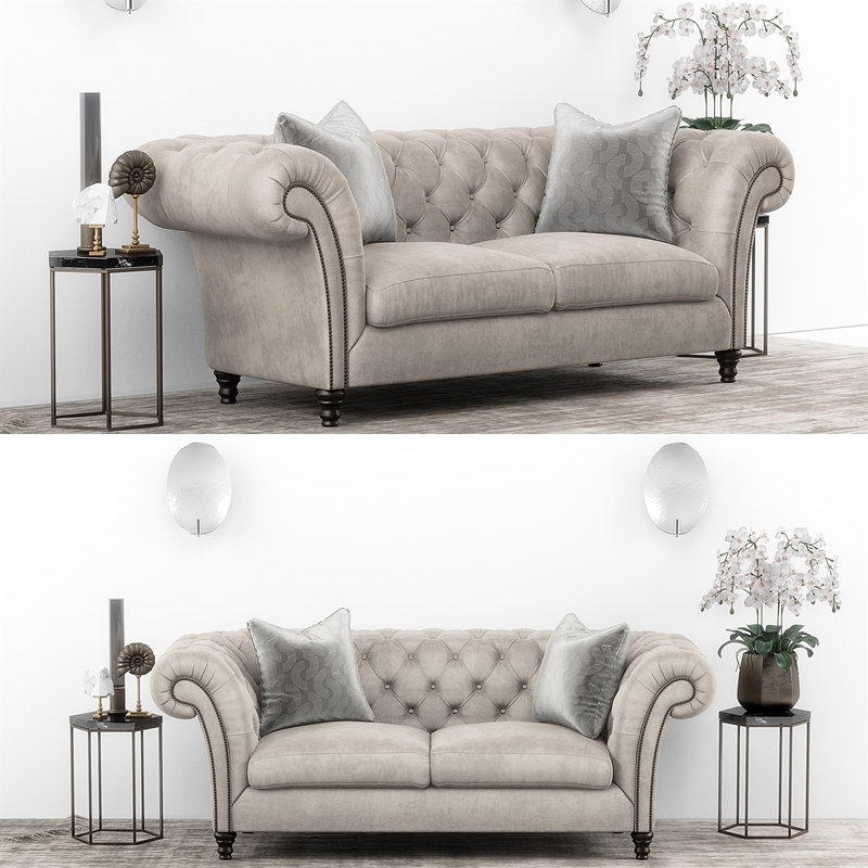 3D club chesterfield sofa set