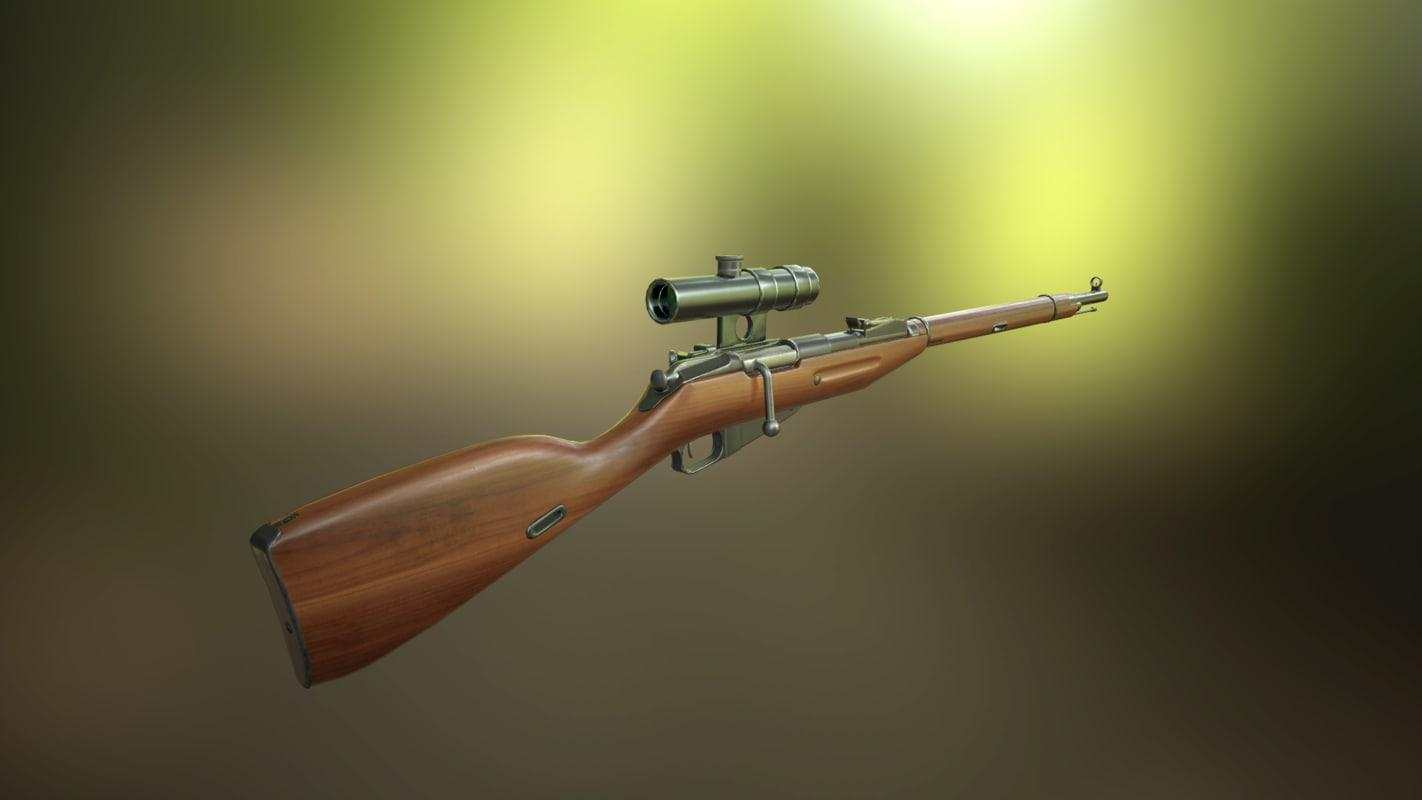 3D model rifle sniper nagan