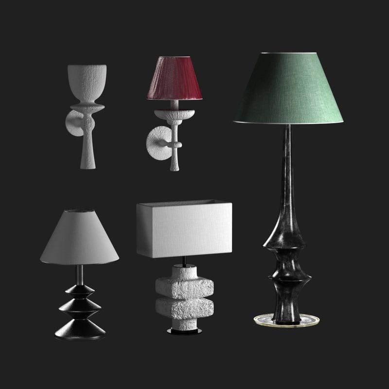 lights set table lamp 3D model