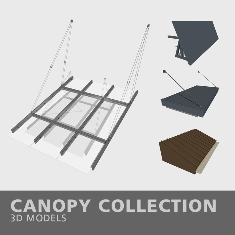3D model canopy awning