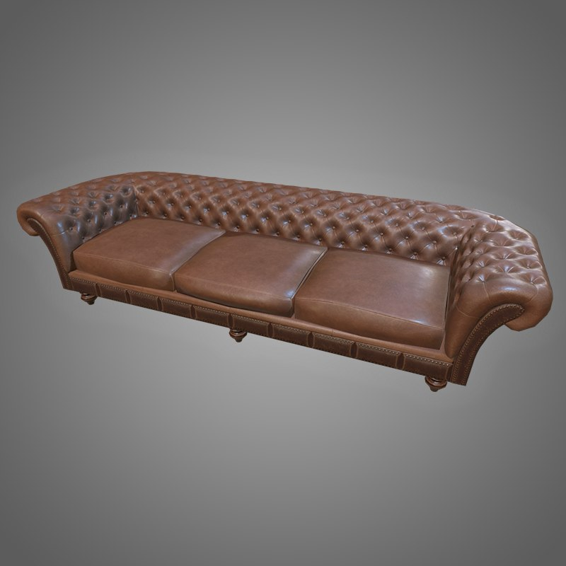 3D chesterfield sofa - pbr