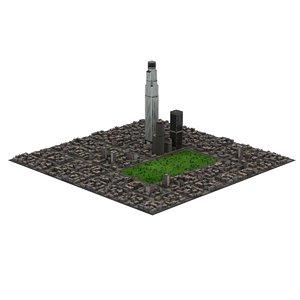 streets buildings park 3D model