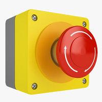 3D emergency stop button model