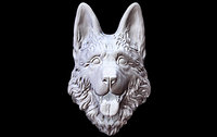 3D dog german head model