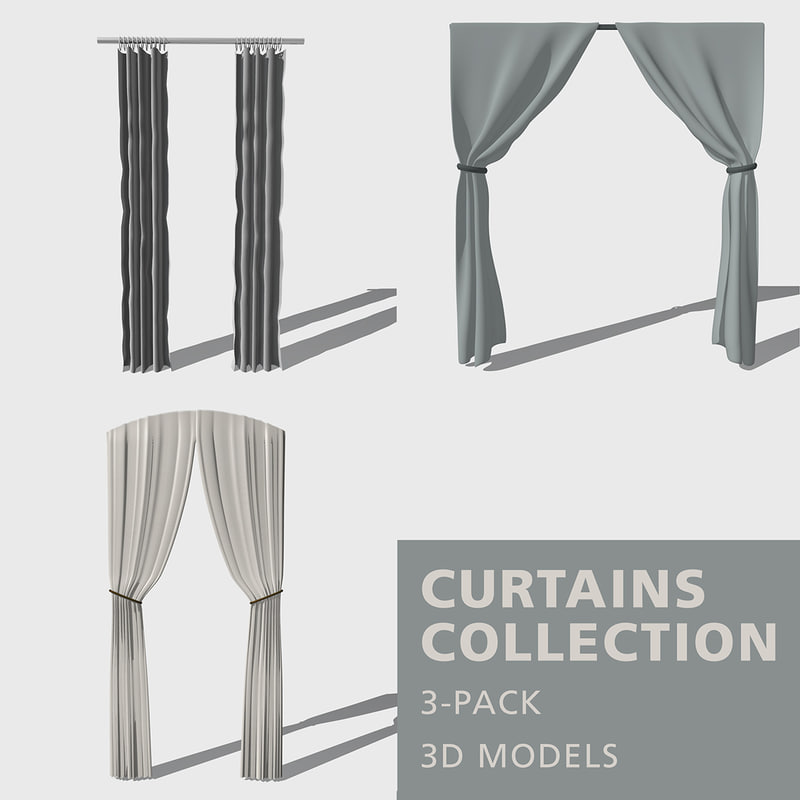 curtains fabric rods 3D model