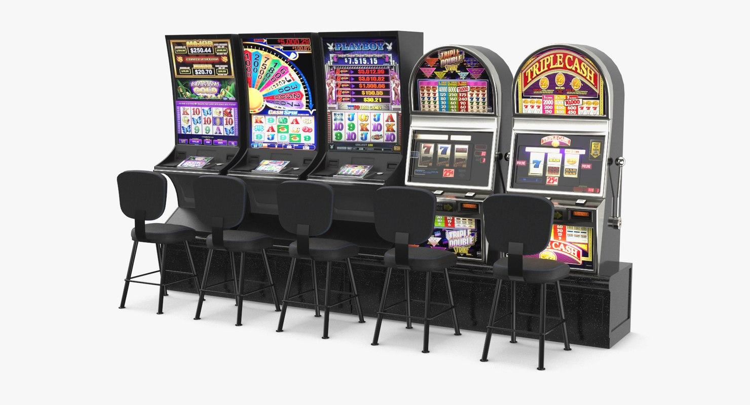 3D row slot machines model