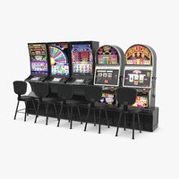 3D row slot machines model
