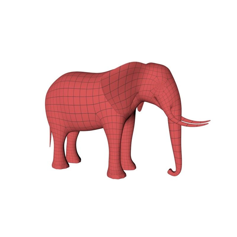 base mesh african elephant 3D