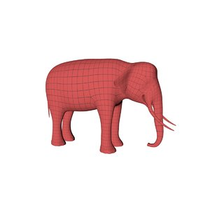 3D base mesh asian elephant model