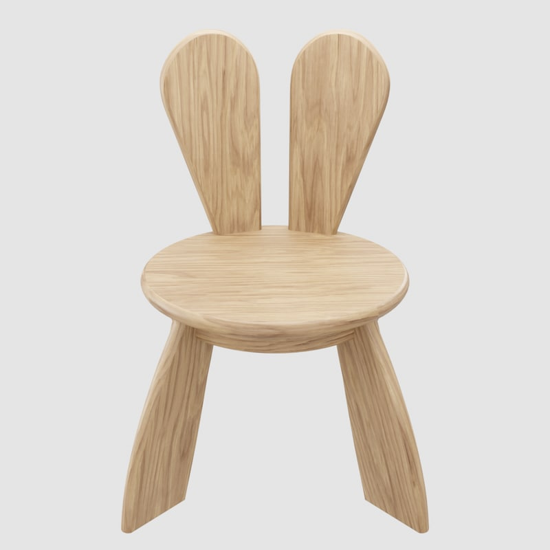 kid wooden minimalistic chair 3D model