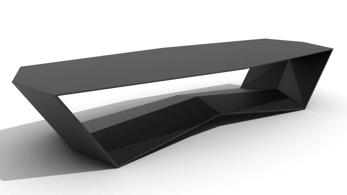 modern sleek ridged base 3D model