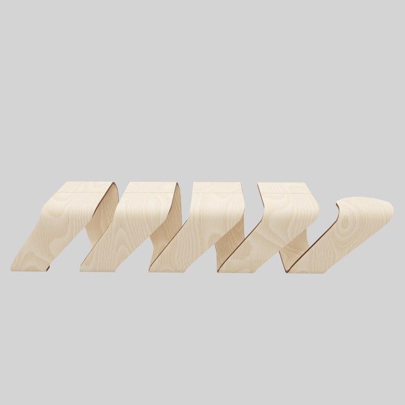 designer wooden bench-spiral 3D model