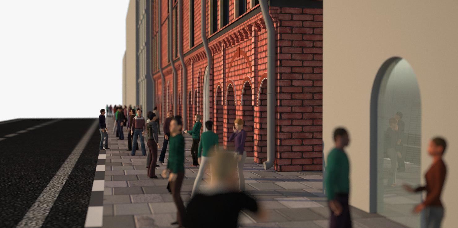 3D brick people sidewalk