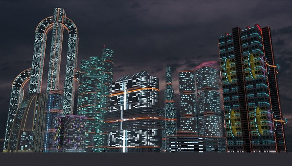 3D sci-fi city skyscrapers