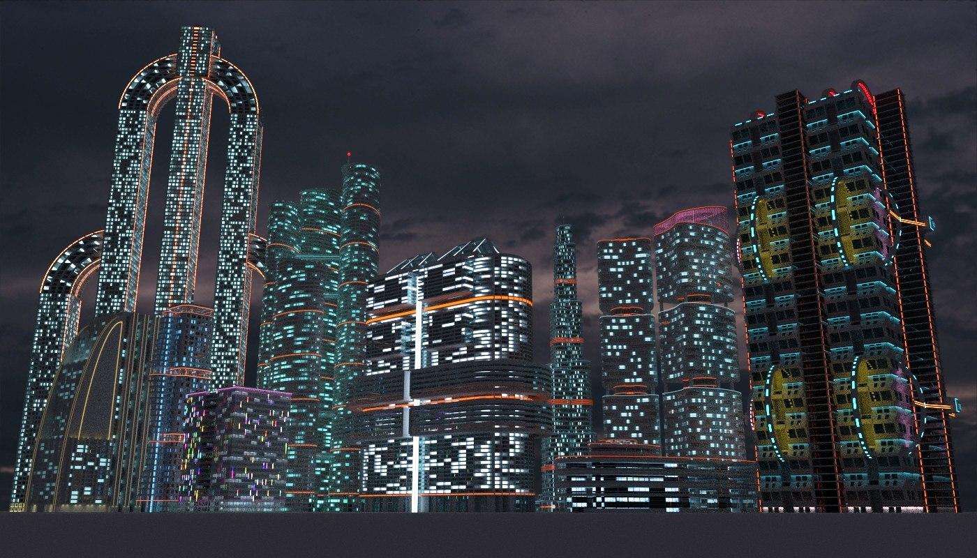 3D sci-fi city skyscrapers