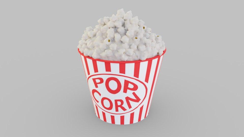 3D popcorn corn pop model