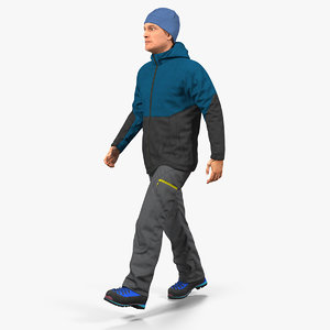 winter men sportswear walking 3D model