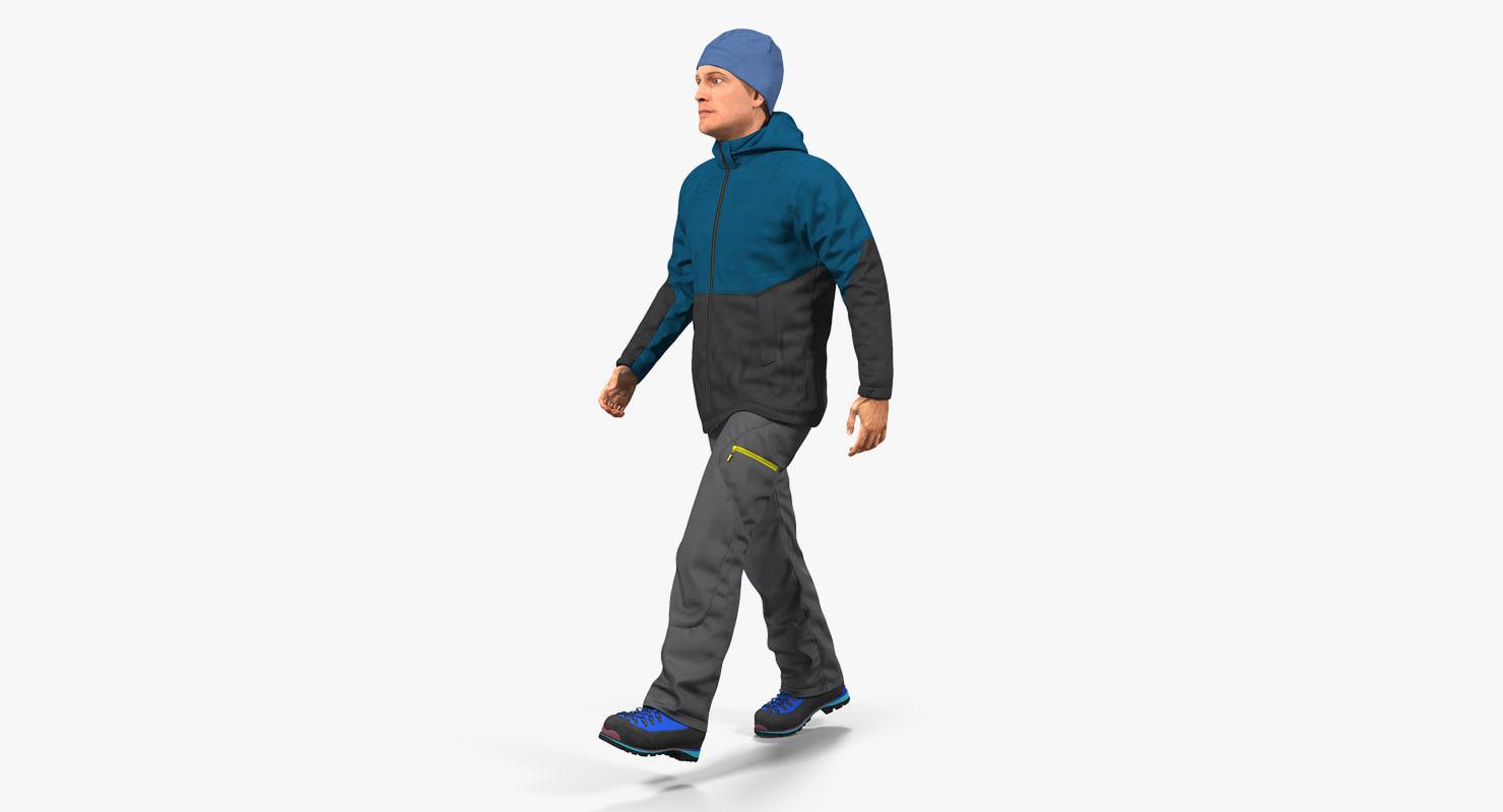 winter men sportswear walking 3D model