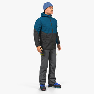 3D winter men sportswear standing model