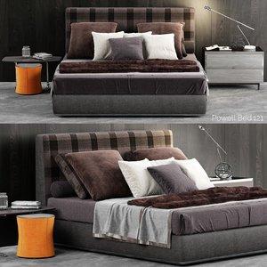 minotti powell bed 121 3D model