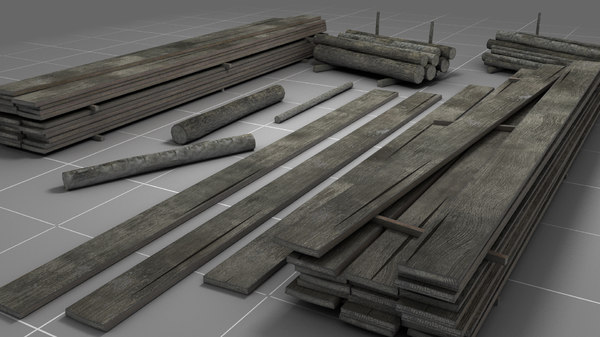 3D wooden warehouse boards logs