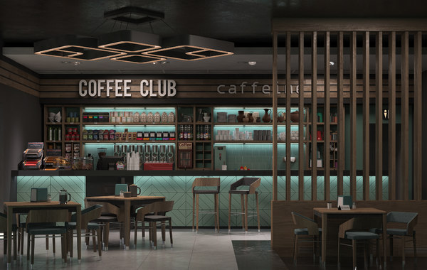 3D model scene interior coffee shop
