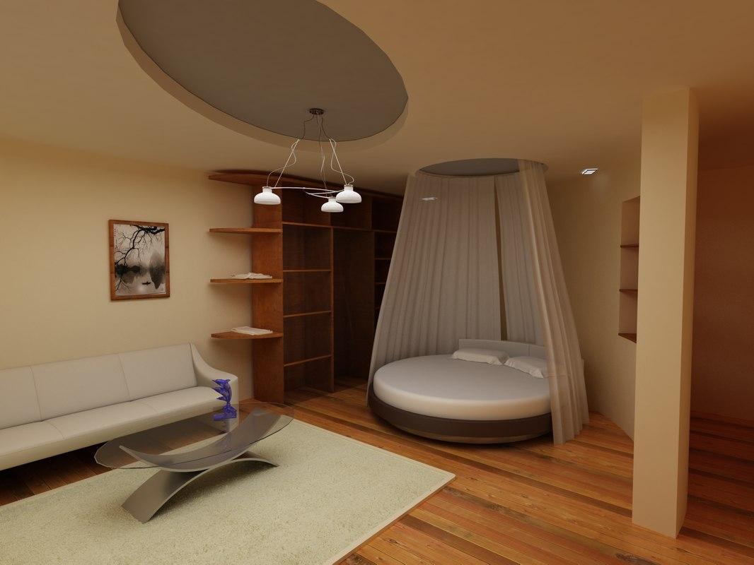 apartment interior bedroom 3D model