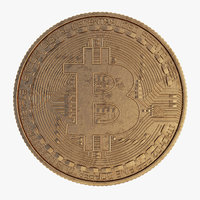 3D bitcoin gold coin