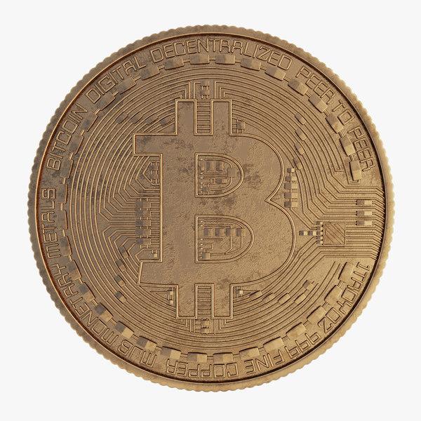3D bitcoin gold coin