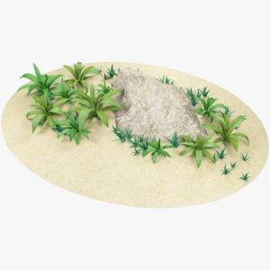 cartoon grass stone ground 3D