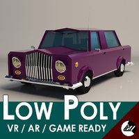 Low-Poly Cartoon Limousine Car