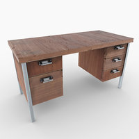 worn 5 drawer desk 3D model
