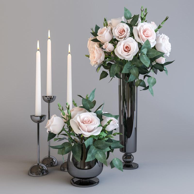 3D model roses candles
