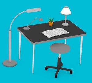 lamps desk plant 3D model