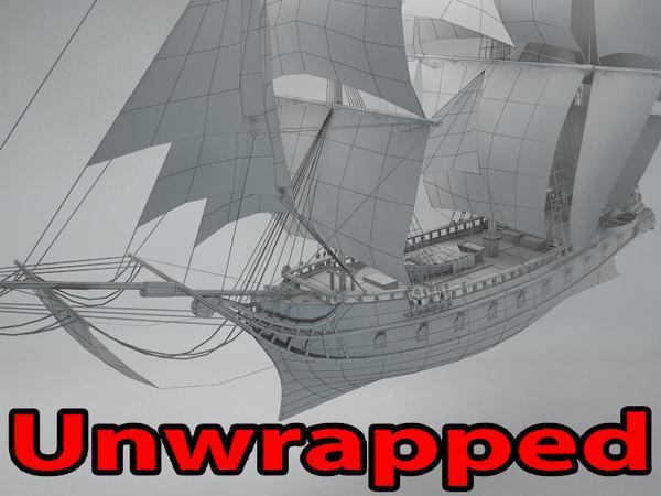 3D unwrapped brigantine