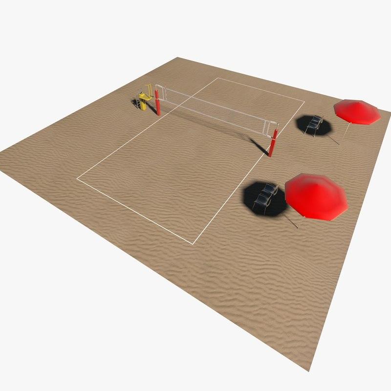 3D volleyball court model