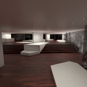 3D art gallery interior model