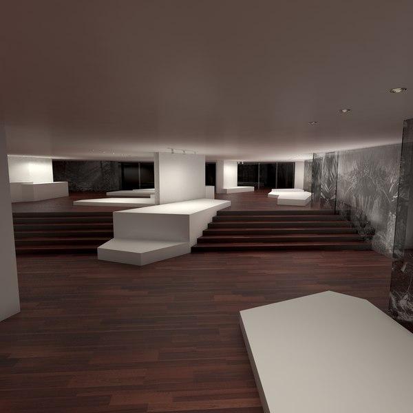 3D art gallery interior model