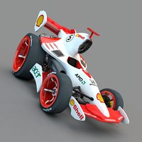 cartoon f1 car 3D model