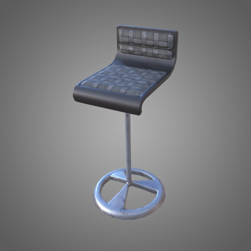 3D bar stool - pbr