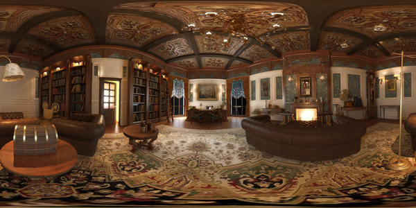 3D classic library room model