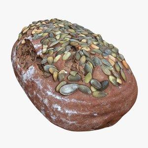 retopology bread 3D model