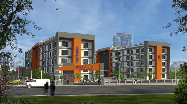 building school exterior model