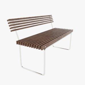 wooden street bench 3D