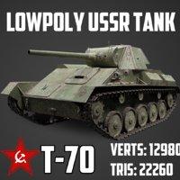 3D model ussr tank t-70